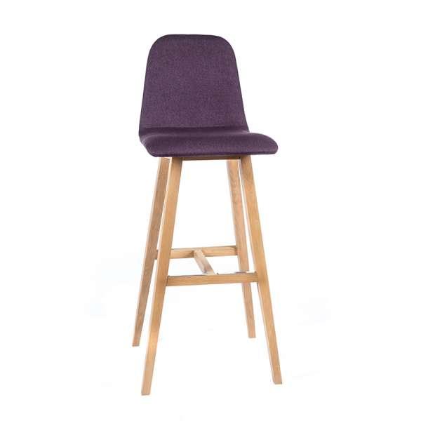 Tabouret hauteur 80 cm scandinave tissu violet avec pieds bois naturel - Pandora - 5