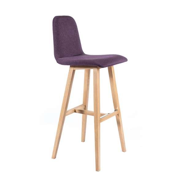Tabouret de bar scandinave tissu violet avec pieds bois naturel - Pandora - 1