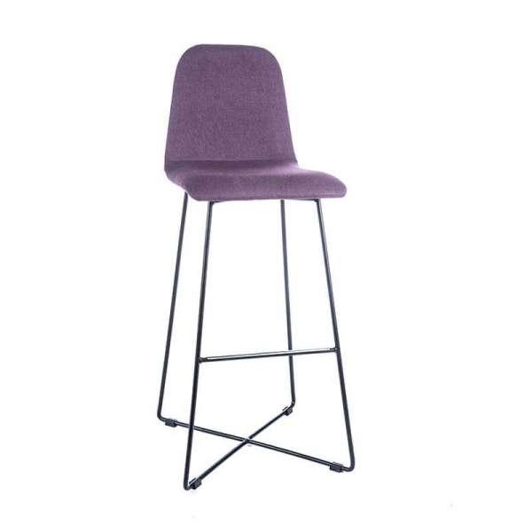 Tabouret hauteur bar en tissu violet avec pieds filaires en métal noir - Pandora - 5