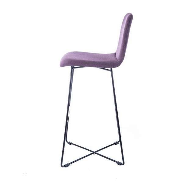 Tabouret haut de bar en tissu violet avec pieds filaires en métal noir - Pandora - 6