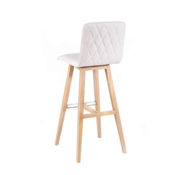 Tabouret hauteur 80 cm scandinave blanc avec pieds en bois naturel - Plaza - 3