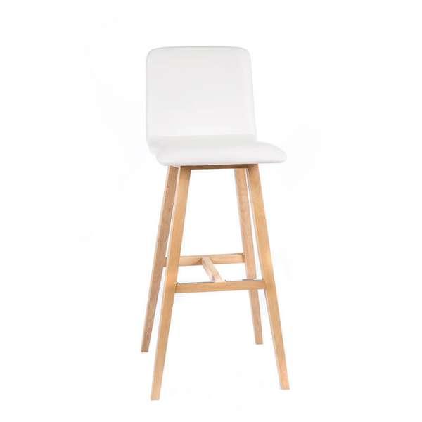 Tabouret tendance scandinave blanc avec pieds en bois naturel - Plaza - 5