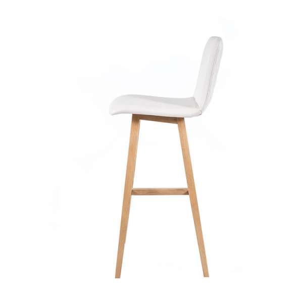 Tabouret haut 80 cm scandinave blanc avec pieds en bois naturel - Plaza - 6