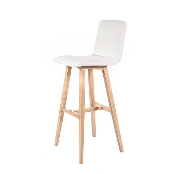 Tabouret de bar scandinave blanc avec pieds en bois naturel - Plaza - 2