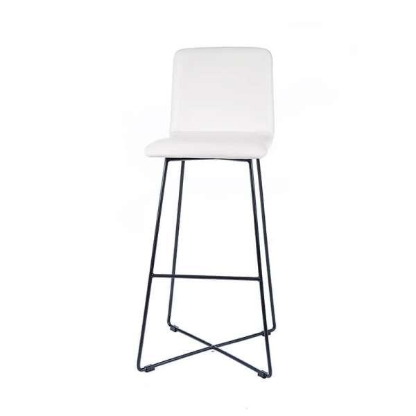 Tabouret haut design blanc avec pieds filaires en métal noir - Plaza - 4
