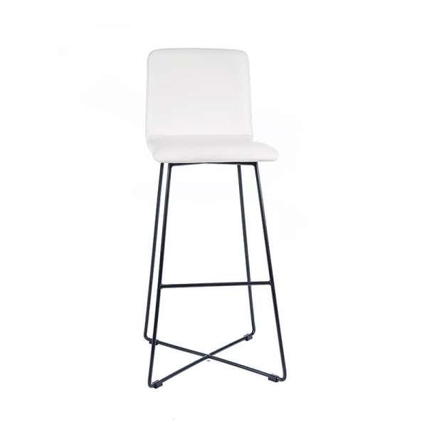 Tabouret design blanc avec pieds filaires en métal noir - Plaza - 5