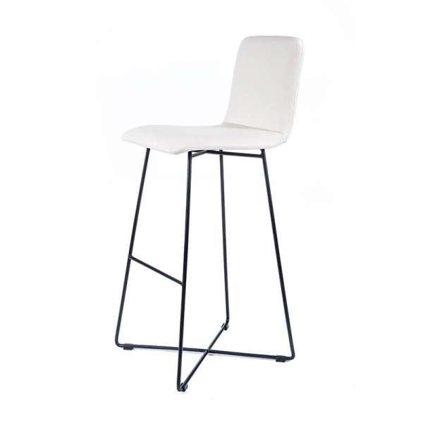 Tabouret hauteur bar design blanc avec pieds filaires en métal noir - Plaza - 2