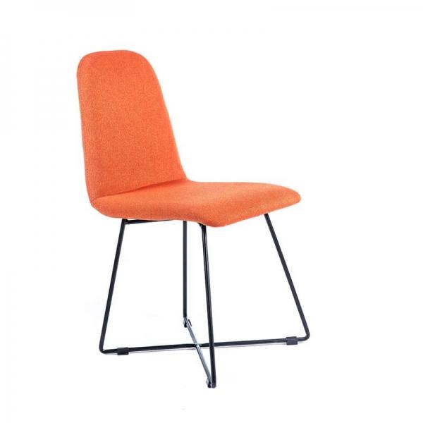 Chaise design en tissu orange pieds en métal noir - Pandora - 1