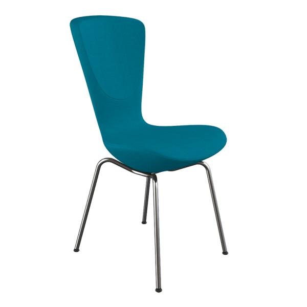 Chaise design ergonomique en tissu bleu et métal - Invite Varier® - 11