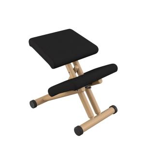 Siège de bureau ergonomique en tissu noir et bois naturel - Multi Varier®