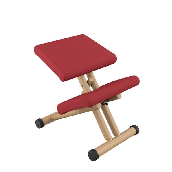 Chaise de bureau ergonomique en tissu rouge et bois naturel - Multi Varier® - 6