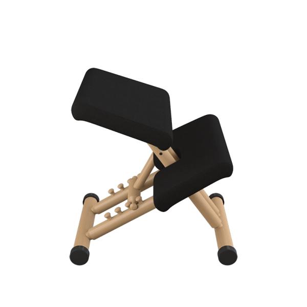 Siège ergonomique en tissu noir et bois naturel - Multi Varier® - 4