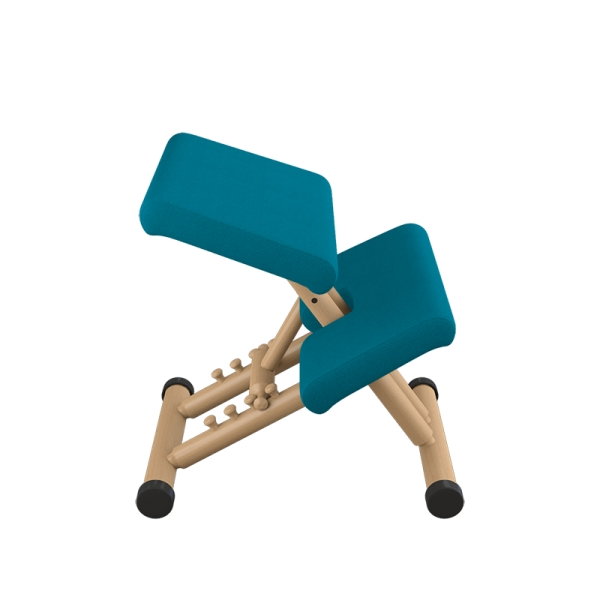 Chaise de bureau ergonomique en tissu bleu et bois naturel - Multi Varier® - 10
