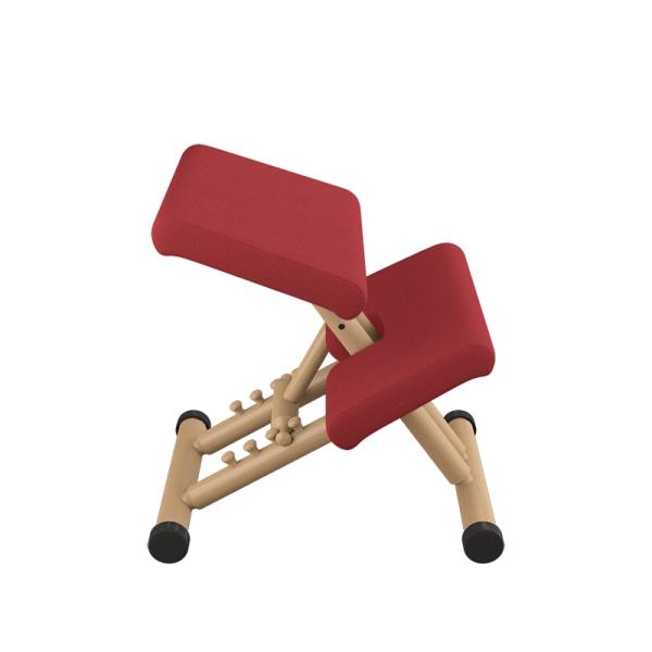 Siège de bureau ergonomique en tissu rouge et bois naturel - Multi Varier® - 7