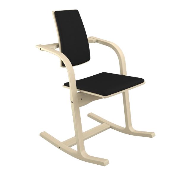 Fauteuil de bureau ergonomique en tissu noir et bois naturel - Actulum Varier® - 11