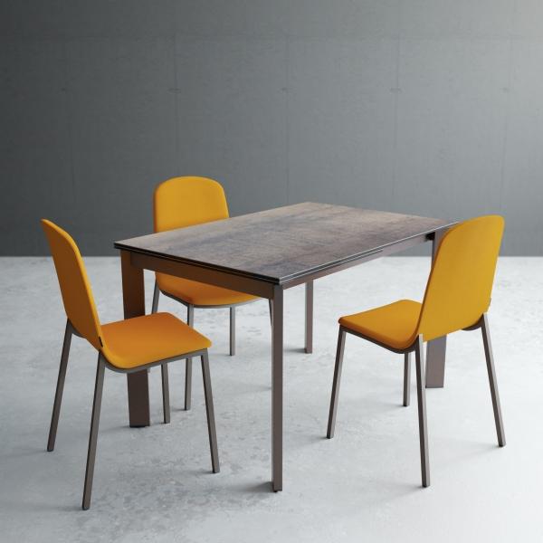 Table petit espace extensible en céramique bronzo - Poker - 1