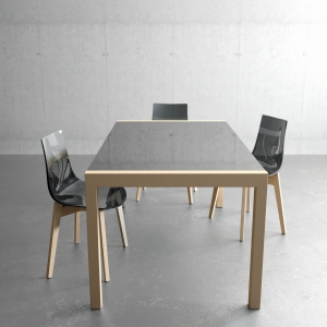 Table en verre et bois extensible - Concept bois