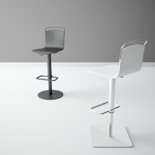 Tabouret design réglable et pivotant métal chromé et bois - Win - 6
