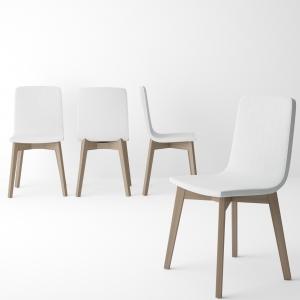Chaise moderne en bois et synthétique blanc - Eclipse Confort