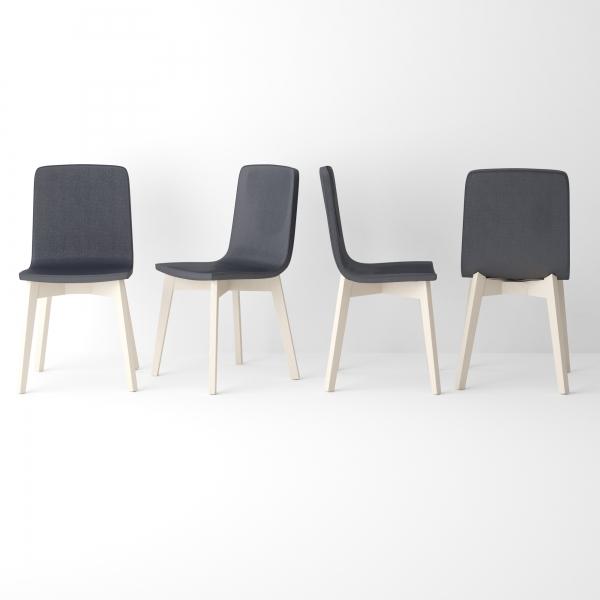 Chaise moderne en bois et synthétique noir - Eclipse Confort - 2