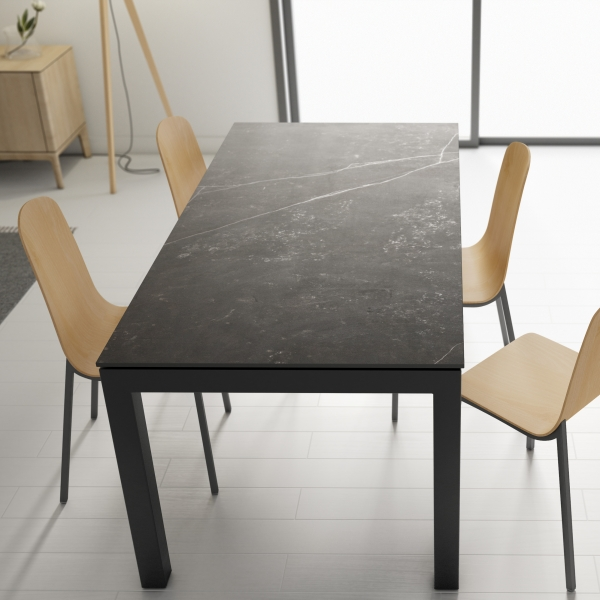 Table en dekton rectangulaire extensible avec structure en métal anthracite - Lakera - 4