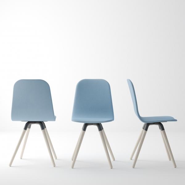 Chaise scandinave en synthétique et bois - Nuba