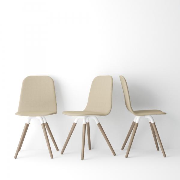 Chaise scandinave en synthétique et bois - Nuba - 2