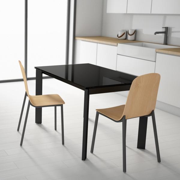 Table petit espace extensible en verre - Poker - 1