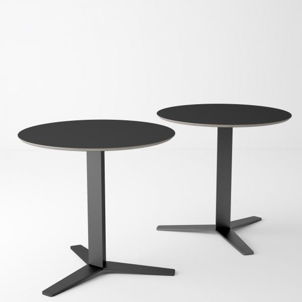 Table ronde petit espace en verre blanc et métal - Peliccan - 2