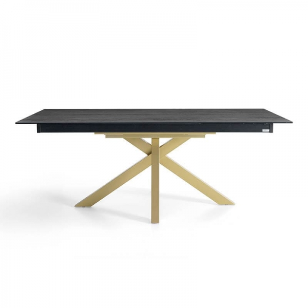 Table design avec allonge en Dekton noir avec pied central or - Moon - 3
