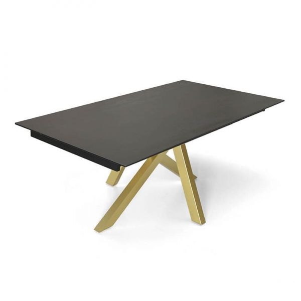 Table tendance extensible en Dekton anthracite avec pied central or - Moon - 4