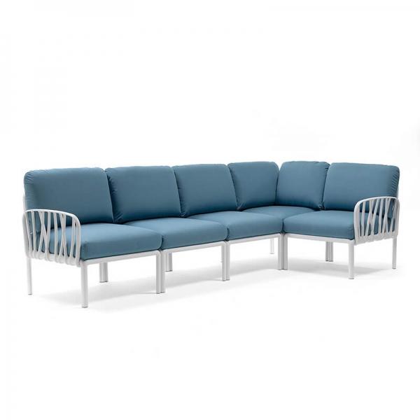 Canapé modulable en tissu bleu d'extérieur 5 places - Komodo - 7