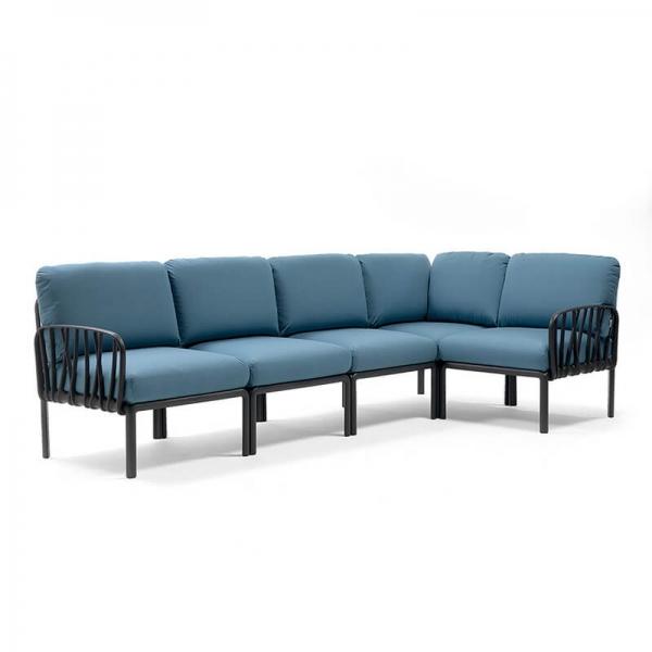 Canapé modulaire en tissu bleu d'extérieur 5 places - Komodo - 10