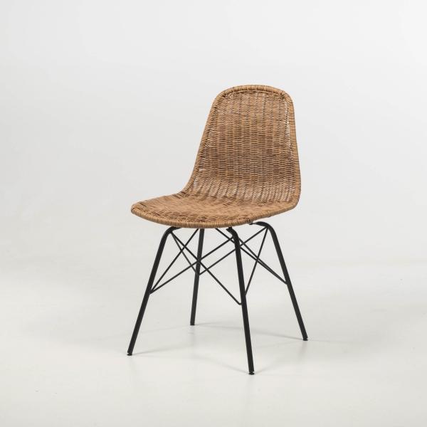 Chaise bohème tressée naturel avec pieds Eiffel - Bornéo - 2