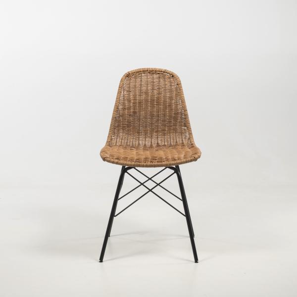 Chaise bohème tressée naturel avec pieds noirs - Bornéo - 3