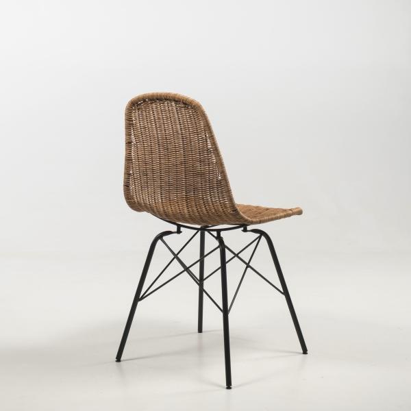 Chaise tressée naturel avec pieds Eiffel - Bornéo - 6