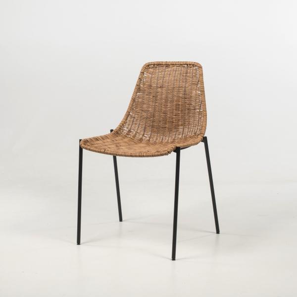 Chaise tressée bohème teinte naturelle pieds en métal noir - Lombok - 2