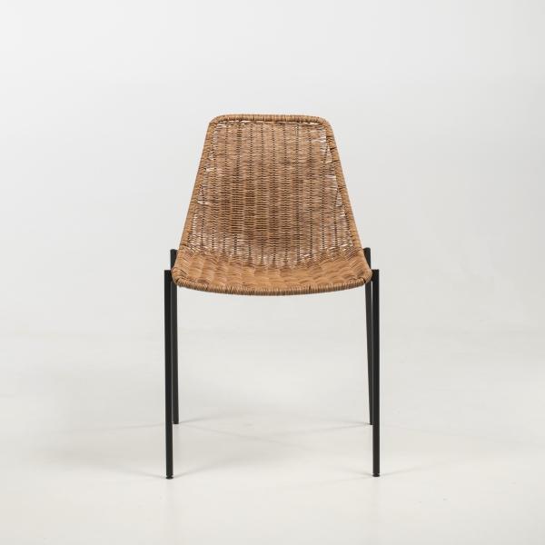 Chaise ethnique teinte naturelle pieds en métal noir - Lombok - 3