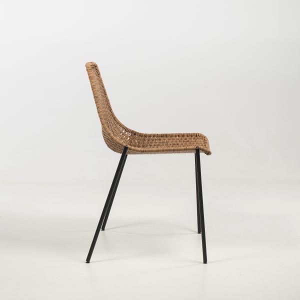 Chaise bohème teinte naturelle pieds en métal noir - Lombok - 4