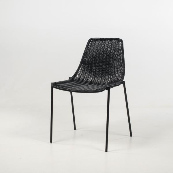 Chaise imitation rotin noir pieds en métal - Lombok - 9