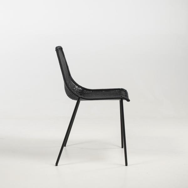 Chaise exotique imitation rotin noir pieds en métal - Lombok - 10