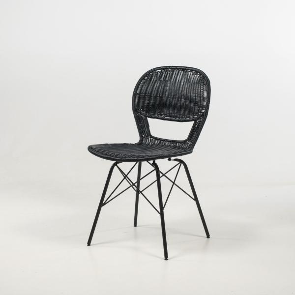 Chaise imitation rotin tressé noir pieds métal - Flores - 10