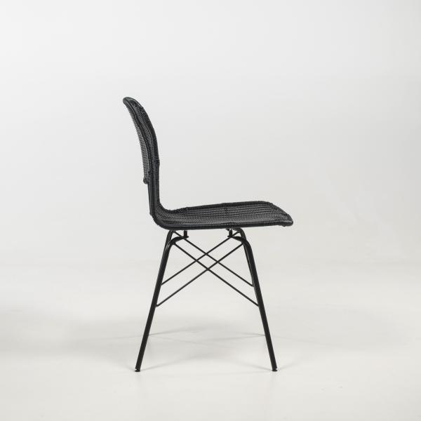 Chaise ethnique tressée pieds métal noir - Flores - 11