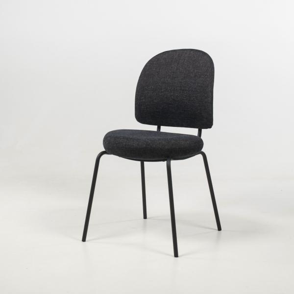 Chaise confortable rembourrée coloris gris foncé - Lilas - 2