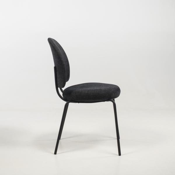Chaise confortable avec assise et dossier rembourrés coloris anthracite - Lilas - 4
