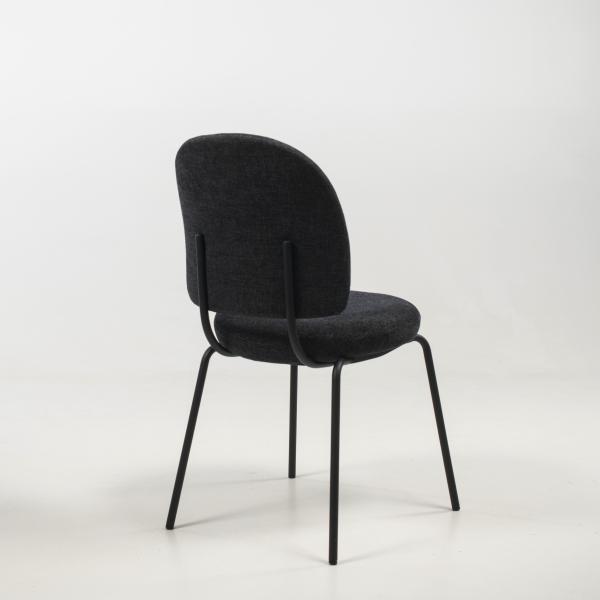 Chaise rembourrée coloris gris foncé - Lilas - 5