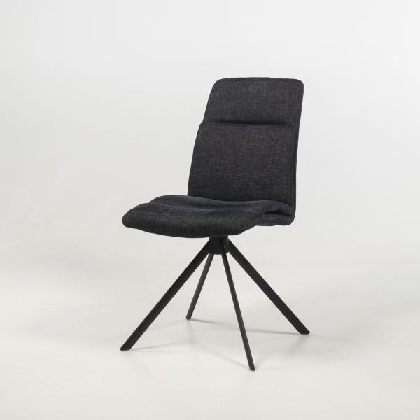 Chaise pivotante en tissu anthracite rembourrée avec pieds obliques - Jacynthe - 2