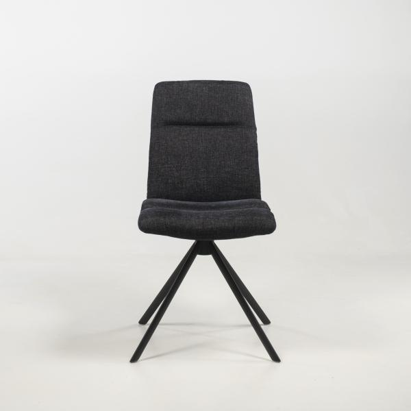 Chaise tournante en tissu gris foncé rembourrée avec pieds obliques - Jacynthe - 3