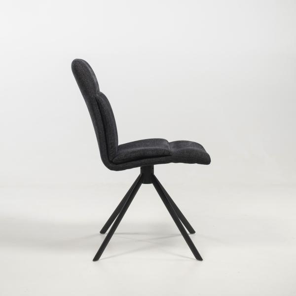 Chaise tournante en tissu anthracite rembourrée avec pieds obliques - Jacynthe - 4
