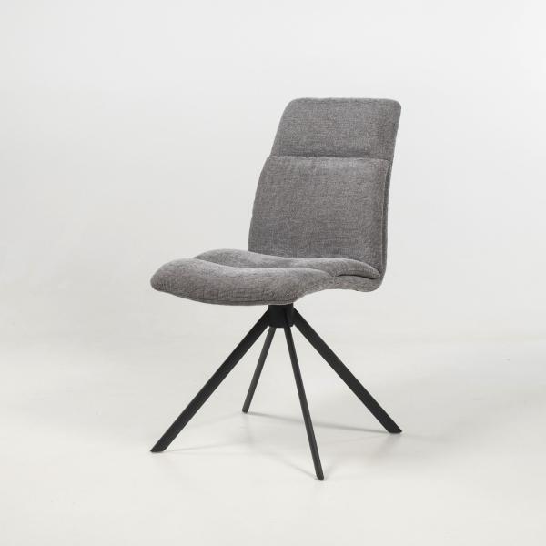 Chaise tournante en tissu gris - Jacynthe - 14
